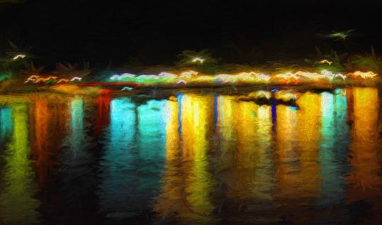 Bright lights and reflections in Rawai bay, Phuket