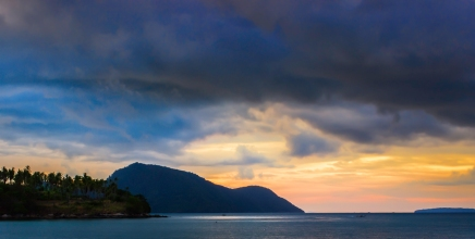 The sun rise puts this Andaman island in perfect silhouette